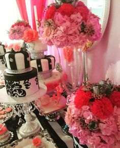 Stunning cake at a Parisian Quinceañera birthday party! See more party planning ideas at CatchMyParty.com!