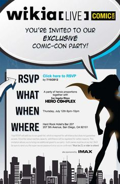 @Los Angeles Times Hero Complex + @Wikia + IMAX hosting #ComicCon #SDCC party @  Hard Rock Hotel on 07/12/12 -- before the #IMAXREMIX event.