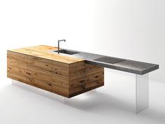 Top cucina / tavolo a penisola in acciaio e legno STEEL  by Lago design Daniele Lago
