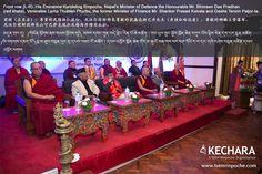 Front row (L-R): His Eminence Kundeling Rinpoche, Nepal's Minister of Defence the Honourable Mr. Bhimsen Das Pradhan (red khata), Venerable Lama Thubten Phurbu, the former Minister of Finance Mr. Shanker Prasad Koirala and Geshe Tenzin Paljor-la.