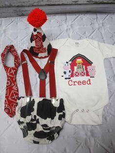 Boys Cake Smash Outfit,Cow Print Cake Smash Outfit,Barn Animals Cake Smash,Boys First Birthday Clothes, - franziska Cow Birthday Parties, First Birthday Outfits Boy, Birthday Party Outfits, Birthday Ideas, Birthday Celebration, Farm Animal Birthday, 1st Boy Birthday, Cowboy First Birthday, Birthday Animals