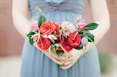 red bridesmaid bouquet with garden roses