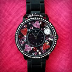 Locket watch, in black from origami Owl! Swarovski crystal face. $118 Add different charms at anytime or wear it plain- Visit https://dreambig.origamiowl.com/ #watches #blingbling #giftsforher #shoponline