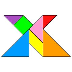Tangram Letter X - Tangram solution #119 - Providing teachers and pupils with tangram puzzle activities