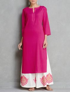 Buy Fuschia Pintuck Cotton Kurta by Ruh Online at Jaypore.com