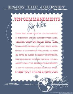 10 Commandments for Kids Freebie.  Look great framed in the boys room.