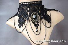 Victorian Black Lace Choker/Lace Choker Collar/Gothic Choker/Black Lay | Zeng's Lace