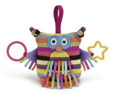 When little ones get fussy, sometimes parents need back-up. Enter your baby's new best friend: Hoot Owl by Jellycat. The colorful, knitted owl has tags to tug on, shapes to teethe on, and sounds to engage with. And the simple-yet-sturdy Velcro strap makes it super-simple to attach this adorable toy to a carseat or crib. Perfect!