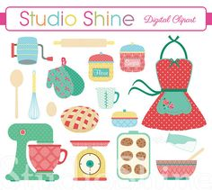 Retro Baking - Cooking Digital Clipart Set Clip art for scrapbooking, party invitations, Personal and Commercial Use Instant Download