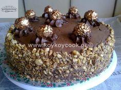 ΤΟΥΡΤΑ ΦΕΡΕΡΟ ΡΟΣΕ (Ferrero Rocher) – Koykoycook Greek Desserts, Party Finger Foods, Ferrero Rocher, Nutella, Cereal, Cheesecake, Sweets, Breakfast, Cakes
