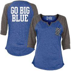 Women's Blue Kentucky Wildcats Baja 3/4 Raglan Sleeve T-Shirt