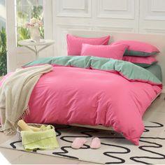Home textile bedding set solid color piece double 100% cotton duvet cover plain 100% cotton sheets
