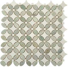 Bella Glass Tiles Flower Series FS-74 marble mosaic tiles for backsplash.