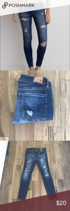 American Eagle Super Super Stretch Jegging 6s Worn Once! AE super super stretched distressed jeggings in a size 6s. Great condition and very comfortable! 26.5 inseam! American Eagle Outfitters Jeans Skinny
