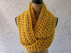 Ready To Ship Infinity Scarf Crochet Knit Large Mustard Womens Accessories Eternity Fall Winter  Length: 74 inch circle Width: 6.5 inches