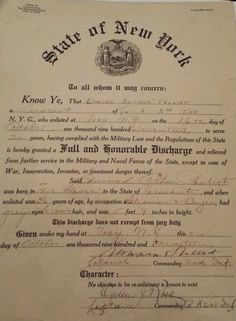 WWI military discharge papers state of New York