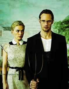 Anna Paquin and Alexander Skarsgård posing as 'American Gothic' for Entertainment Weekly magazine cover.