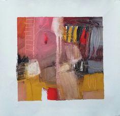 """Esencia.  la propia e indisoluble identidad de las cosas frente a la apariencia  Proyecto """"En Esencia"""" Pigmento, resina / lienzo 20×20 Proceso aditivo en un único sentido; negro, rojo, ocre, blanco."""
