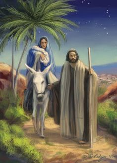 Mary and Joseph take Jesus to Egypt - Daniel Rodgers: June 2010 Christmas Jesus, Christmas Nativity Scene, Christmas Scenes, Religious Pictures, Jesus Pictures, Religious Art, Wallpaper Natal, Biblical Art, Blessed Virgin Mary