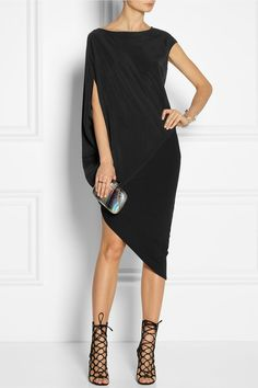 Sexy Kleid fürs Büro mit asymetrischem Schnitt #businessdress #büro #workingdress >> KAUFMANFRANCO Draped stretch-silk crepe and little black stretch-jersey dress