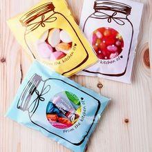 100 pcs/Set en plastique Transparent Cellophane bonbons Cookie sac - cadeau auto - adhésif Pouch fête d'anniversaire de mariage gros(China (Mainland))