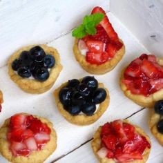 Mini Strawberry and Blueberry Cream Pies -- adorable and so delicious!