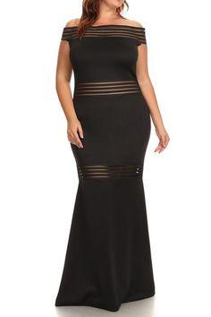 Plus Size Mermaid Mesh Striped Maxi Dress (plus size) #plussizefashion #dress #maxi