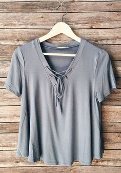 Grey Plain Drawstring Short Sleeve Casual Polyester T-Shirt