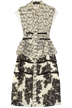 Thakoon|Embroidered organza and printed cotton and silk-blend dress|NET-A-PORTER.COM