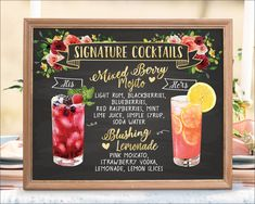 Wedding Bar Menu Sign w/Botanicals and Watercolor Drinks on Chalkboard - Wedding Signage by Wedding Sundae Studio