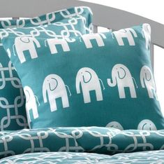 Fun accent pillow in bright turquoise with elephant pattern. This pillow measures x All cotton, polyfil. Made in USA. Buy The Elephant Pillow in Turquoise and White Turquoise Accent Walls, Turquoise Bedding, Linen Pillows, Linen Bedding, Bed Pillows, Bed Linen, Elephant Bedding, Elephant Nursery, Bedroom Wall Colors