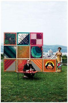 Designer Emilio Pucci with his designs, 1959. Photo by David Lees.