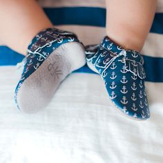 Anchors Aweigh, Part of Mykonos Collection from Freshly Picked Baby Moccasins   Genuine Leather, Blue Shoes for Toddlers, Summer in Greece, Kid Beach Style