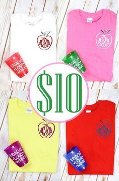 Personalized gifts for all occasions - baby, wedding, graduation and more; Cricut Explore Projects, Personalized Shirts, Short Sleeve Tee, Initials, Teacher, Monogram, Vacation, Tees, T Shirt