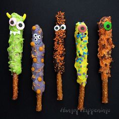 Make cute and quirky Chocolate Caramel Pretzel Monsters for Halloween. They are quick and easy to create and perfect treats for this holiday. Love the googly eyes! Would be ideal for a monster themed birthday party or baby shower