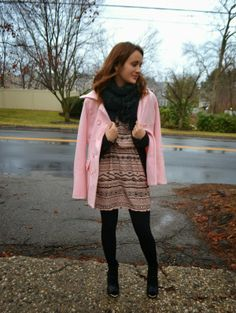 Pink pea coat and winterized dress