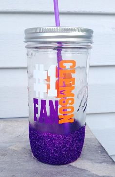 Clemson Glitter Dipped Mason Jar; Tumbler; lid and straw; Pint and a half