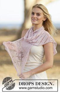 """Gebreide DROPS sjaal met kantpatroon van """"Lace"""" of """"BabyAlpaca Silk"""". ~ DROPS Design"""