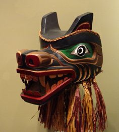 Native American Masks | Bear Mask. Made of red cedar,and red cedar bark. Hand carved and ...