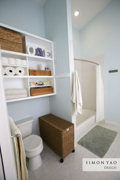 LOVE the shelf above the toilet for storage of towels, toilet paper and back up hair/body products!!!