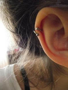 Helix Piercing With Circular Barbell Ring