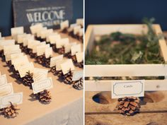 winter wedding name cards: could add ski run names instead of table numbers