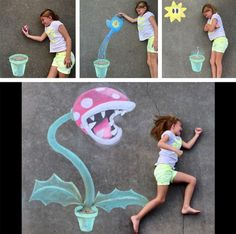 Love this sidewalk chalk drawing of the Piranha plant from Super Mario Brothers!