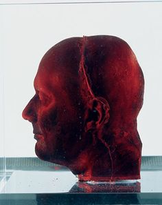 Marc Quinn, 2006 The best-known contemporary still life sculpture is Marc Quinn's Self. In 1991, he made the first of a series of lifesize casts of his own head, each made from his own blood. Every five years, Quinn makes a new version, having slowly collected his blood so as not to harm his health. Each frozen sculpture is slightly different from the last as he ages and his features change. They are like a series of evolving death masks.