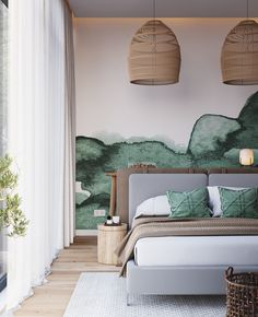 Nightstand Decor His And Hers Guest Bedrooms _ Guest Nightstand Decor Home Interior, Interior Design Living Room, Interior Architecture, Stylish Interior, Bedroom Green, Room Decor Bedroom, Girls Bedroom, Bedroom Ideas, Nursery Ideas