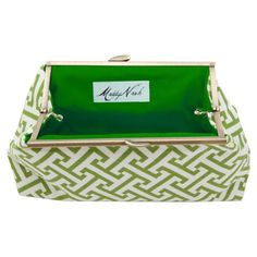 I pinned this Maddy Nash Green Greek Key Clutch with Green Interior from the Bright & Bold Accessories event at Joss and Main!