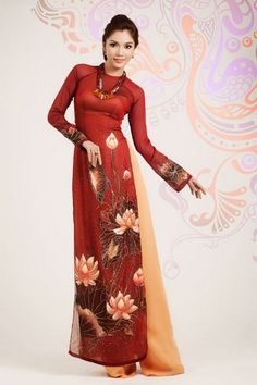 10% discount for every single dresses plus free shipping if you order more than 3 dresses, good deal right? :) / LOTUS LONG DRESS - HS005 - http://aodaihoanguyen.com/ao-dai/ao-dai-sen-viet/chi-tiet/80-ao-dai-sen-viet-hs005#.UItE42fENnM
