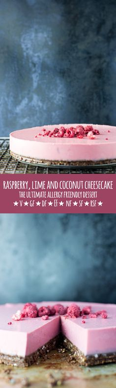 A bright and fresh tasting raspberry, lime and coconut vegan cheesecake on a raw…(Vegan Baking Cheesecake) Desserts Crus, Raw Desserts, Gluten Free Desserts, Dairy Free Recipes, Raw Food Recipes, Dessert Recipes, Lime Recipes Vegan, Pudding Desserts, Paleo Dessert