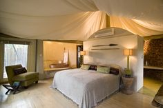 Tented suite from Marataba Safari, part of the Hunter Hotel Group, in the magnificent Marakele National Park, north of Johannesburg in South Africa.