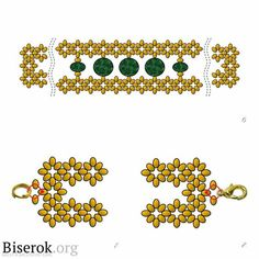 FREE Pattern. Page 3/3. GOLD And EMERALD Bracelet by Darya Demidova. Full tutorial in Russian on the web site